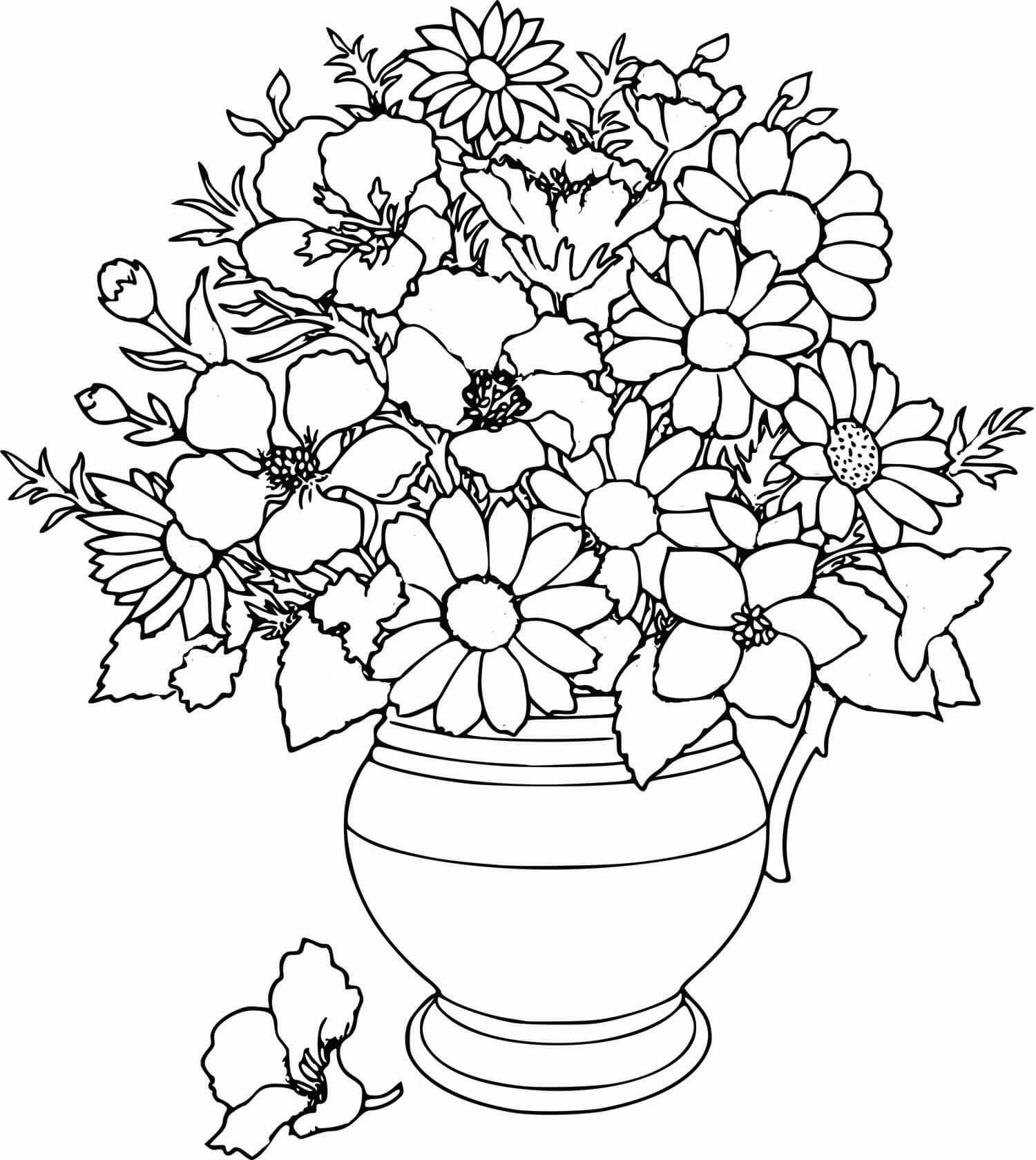 Раскраски для девочек распечатать бесплатно цветы - 2